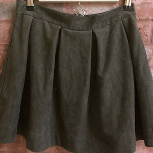 Honey Punch, Green Suede A Line Skirt